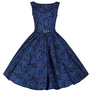 pretty kitty fashion 50s blauen druck swing kleid. Black Bedroom Furniture Sets. Home Design Ideas